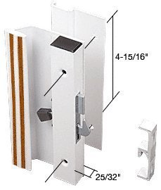 Sliding Glass Patio Door Handle Set, Hook Style, Surface Mount, 1 Low Handle Profile, 4-15/16 Screw Holes, White by C.R. (Hook Style Surface Mount Handle)