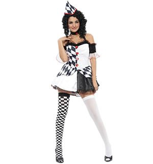 Black & White Ladies Harlequin Costume