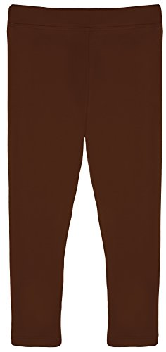 Lilax Girls' Basic Solid Full Length Leggings 12 Brown