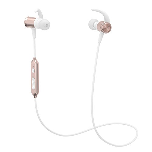 Yuwiss Bluetooth Headphones, Wireless Stereo Earphones with Mic In Ear Sport v4.1 Magnetic Sweatproof Earbuds for Gym Running Workout Noise Cancelling Headsets (Rose Gold)