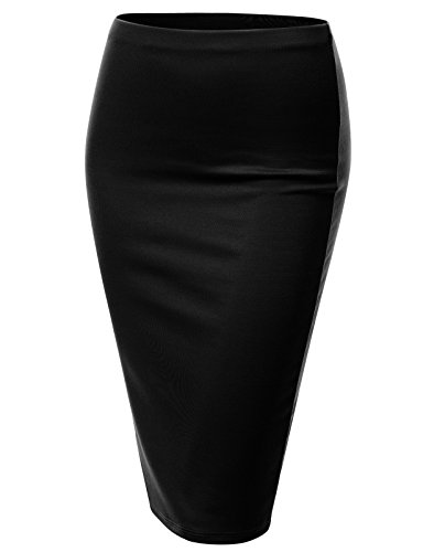 J.TOMSON Women's Basic Stretchy Semi Formal Slim Fit Midi Pencil Skirt BLACK 2XL