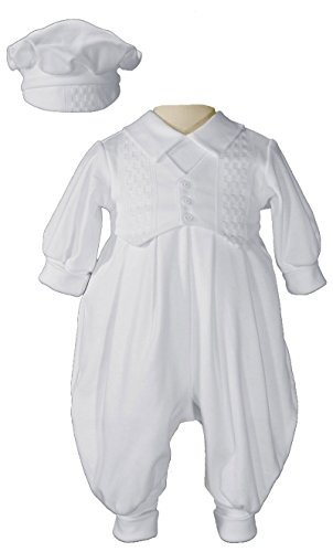 Cotton Knit White Long Outfit with Windowpane Trim Medium