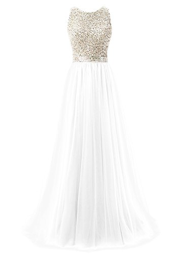 Elegantes Vestidos de Noche Vestidos de para Fiesta Blanco Alto Mujer Callmelady Largos Cuello nxWBzz