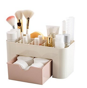 Yssabout – Boîte de rangement pour maquillage avec tiroir - Idéal pour les produits cosmétiques et les bijoux (rose)