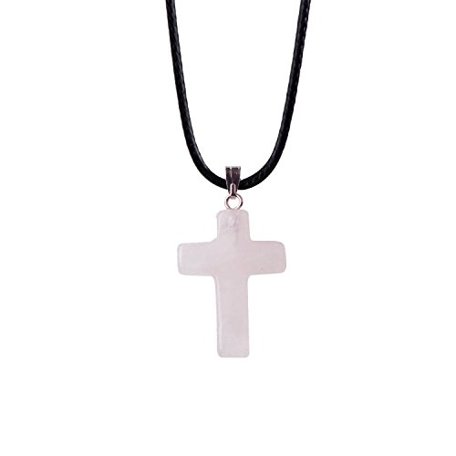 Rose Quartz Cross Necklace - ZHEPIN Bless Gems Cross Pendant Necklace Healing Gemstone Symbol of Salvation, Good News