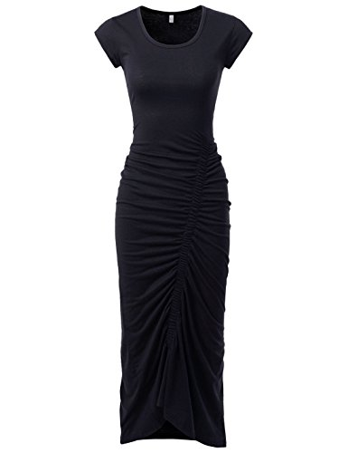 NEARKIN (NKNKWBD801 Womens Cap Sleeve Figure Hugging Scoop Neck Shirred Maxi Dress Black US M(Tag Size L)