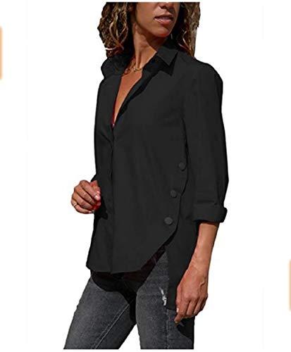 stile colore Arancia a allentato maniche Dimensione Camicetta lunghe Top Nero medio a irregolari Colore femminile lunghe FuweiEncore M maniche wqRgFWp