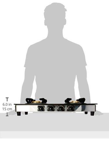 Pigeon by Stovekraft Favourite Blackline Smart Glass Top 4 Burner Gas Stove, Manual Ignition, black