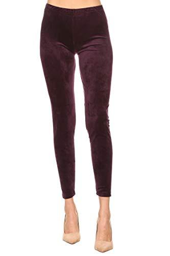 (Leggings Mania Women's Regular Velour Leggings Dark Purple Solid OneSize)