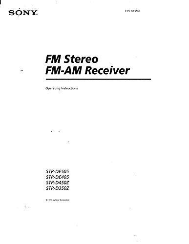 - Sony STR-D450Z Receiver Owners Manual