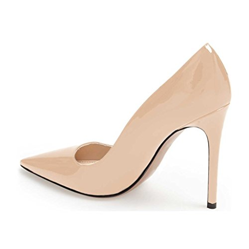 Size FSJ High Shoes Toe Formal Stiletto 4 15 US Classic Beige Pumps Heels Pointed for Women rwrgqEP