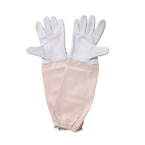 Feekr Professional Beekeeping Gloves Goatskin Anti Bite with Long Sleeve Beekeeper Protective Gloves 18.9 inch,XL