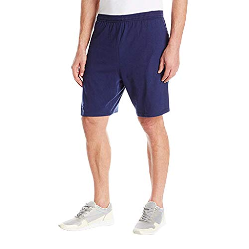 Men's Summer Shorts Jersey with Pockets Solid Loose-Fitting Elastic Sports Navy