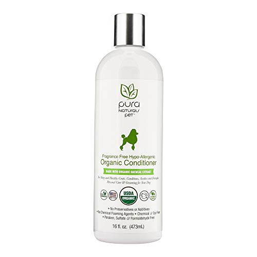 Pura Naturals Pet - Fragrance Free Hypo-Allergenic Organic Conditioner, Natural Itch Relief, No Harsh Ingredients, Eco-Friendly (16 Ounce) ()