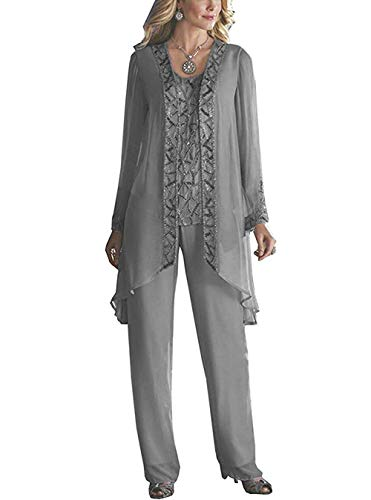 HIDRESS Women's Elegant Mother of The Bride Pant Suits for Wedding 3 Pieces Beaded Outfits BQ141 Size 16 Grey (Beaded 3 Piece Pant)