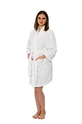 Bath & Robes Women's Chenille Short Robe Mid Length Soft Bathrobe L/XL Coconut Milk