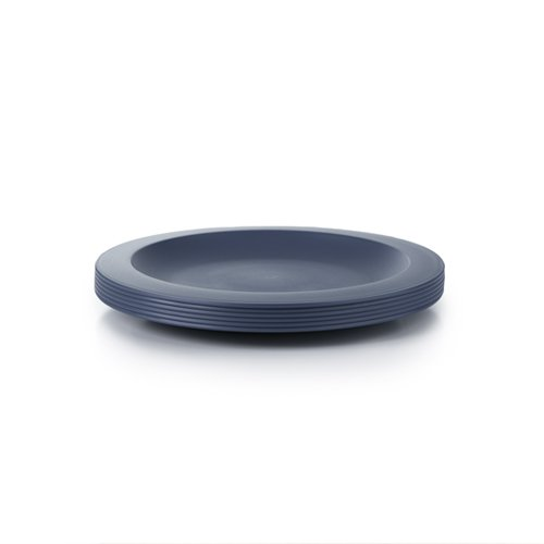 Amuse- Unbreakable and Reusable Plastic Plate Set- BPA Free- Set of 6-9.65 in. (Blue)