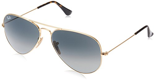 Ray-Ban 3025 Aviator Large Metal Non-Mirrored Non-Polarized Sunglasses, Gold/Light Grey Gradient Dark Grey (181/71), - Ray Optics Aviator Ban