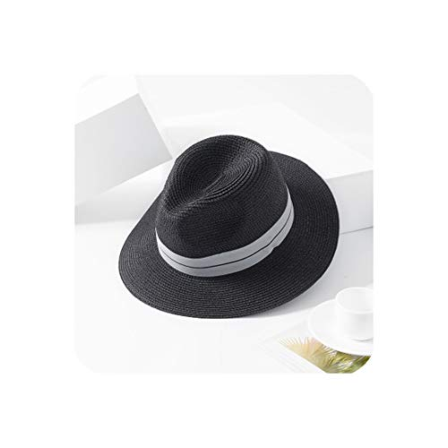 (Summer Panama Hat for Women Black Ribbon Straw Hat Lady Church Caps Beach Sun Hat,Black,56-58Cm)