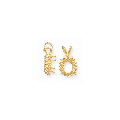 Pendant Oval Cluster Setting - FB Jewels 14K Yellow Gold Oval Cluster 8 x 6mm Pendant Setting
