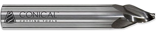 Conical Tool Company R-103C 25.0° Carbide Tapered End Mill - 3 Flute x 3/32'' Tip x 0.7500'' Large Diameter x 3/4'' Shank x 3/4'' Length of Cut x 3'' Overall Length