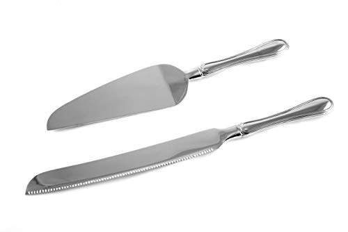 Chrome Cake Server - Skyway Wedding Cake Knife and Server Set Silver - Engravable