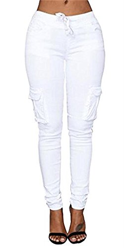 - Ferbia Womens Drawstring Skinny Pants Tie Waist Casual Cargo Jogger Pants Ankle Length Trousers
