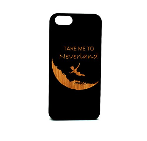 Krezy Case Real Wood iPhone SEs Case,take me to the naverland laser engraved black wood iPhone SEs Case, Wood iPhone SEsCase, Black wood iphone case