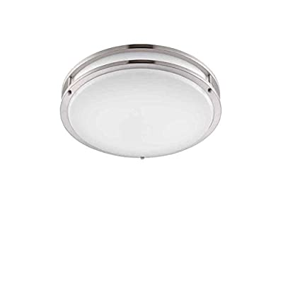 "Designers Fountain EV1412LED-BN Low Profile LED Flush Mount Ceiling Lighting Fixture, 12"", Brushed Nickel/White"