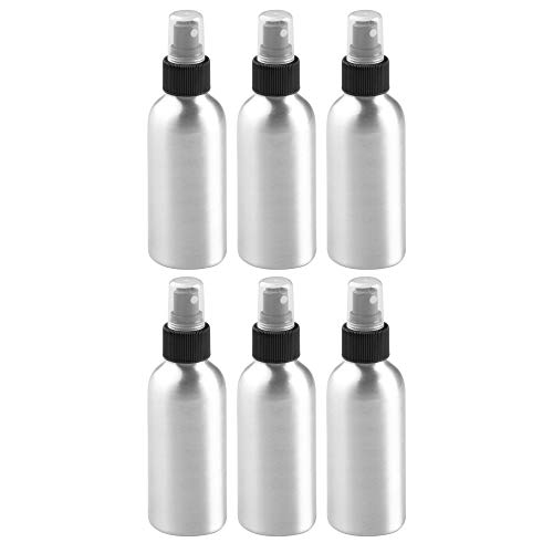 mDesign Aluminum Empty Refillable Spray Bottle - Rust Free - Mister Pump for Watering Plants, Essential Oils, Cleaning Product Solutions, Aromatherapy - Small, Holds 4 oz. - 6 Pack - Brushed/Black