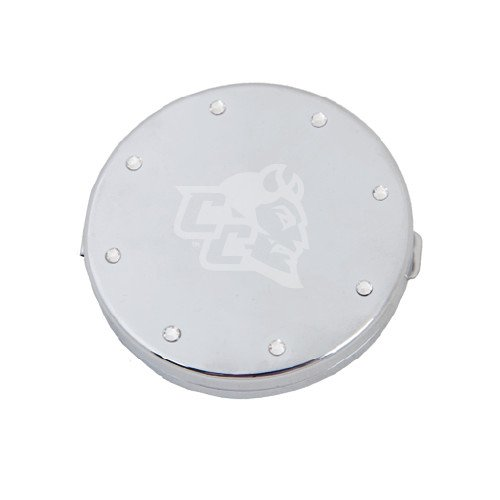 Central Connecticut State Silver Bling Compact Mirror 'CC with Blue Devil Engrave'