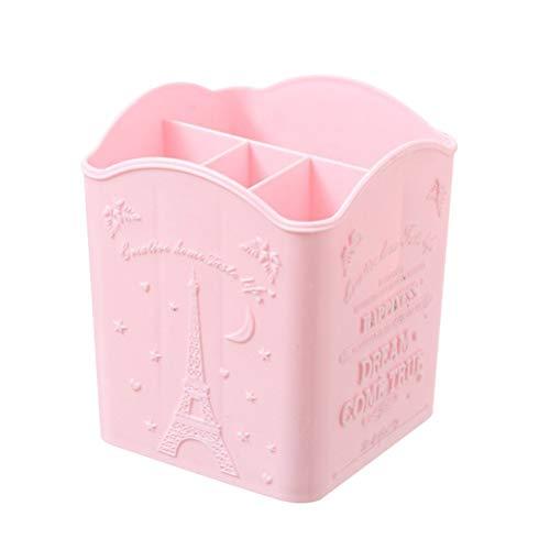 (Four-Grid Pen Holder Desktop Storage Box Nail Art Cosmetic Brush Pen Pencil 4-Slot Holder Home Storage Box Tidy Organizer(Pink))