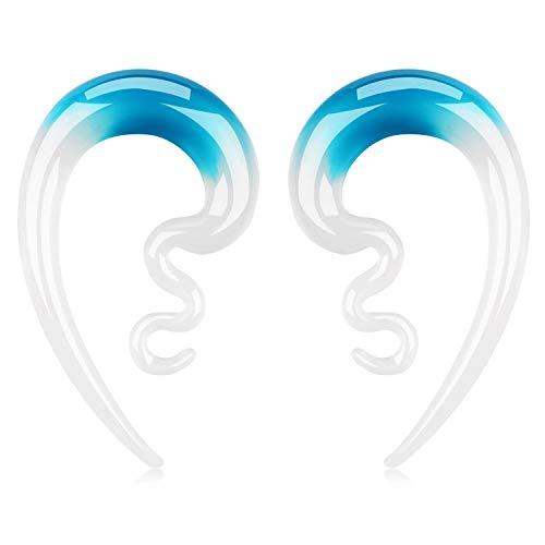 BodyJ4You 2PC Glass Ear Tapers Plugs 4G-14mm Handmade Hanger Gauges Piercing Jewelry Set
