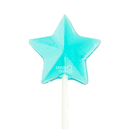 Baby Blue Stars Lollipops, Handcrafted in USA, Cotton Candy Flavor, 24 Pieces, 1.5 lbs.