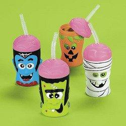 [HALLOWEEN BRAIN HEAD SIPPER CUPS (1 DOZEN) - BULK] (Cup Halloween Sipper)