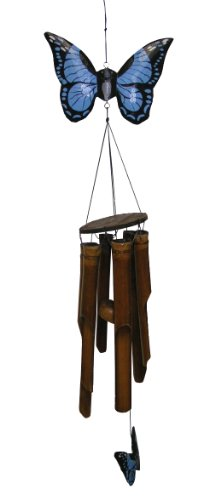 - Cohasset Gifts 186 Cohasset Carved Flat Butterfly Bamboo Wind Chime, Hand Painted Bright Blue Finish