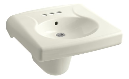 (KOHLER K-1999-4-96 Brenham Wall-Mount Bathroom Sink and Shroud with 4
