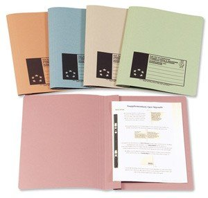 5 Star Flat File Recycled Manilla 315gsm 38mm Foolscap Pink [Pack of 50]