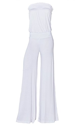 Womens Fashion Strapless Wide Leg Smocked Tube Casual Jumpsuit USA WHT M