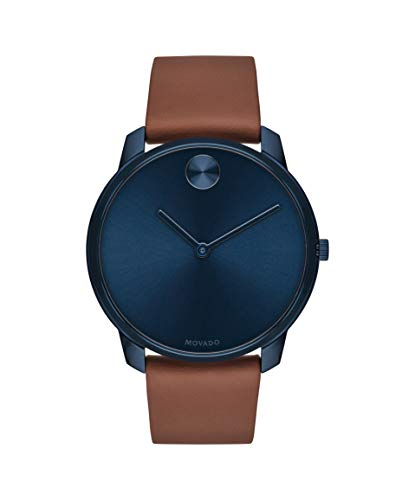 (Movado Bold, Blue Ion-Plated Stainless Steel Case, Blue Dial, Brown Nappa Leather Strap, Men, 3600585)
