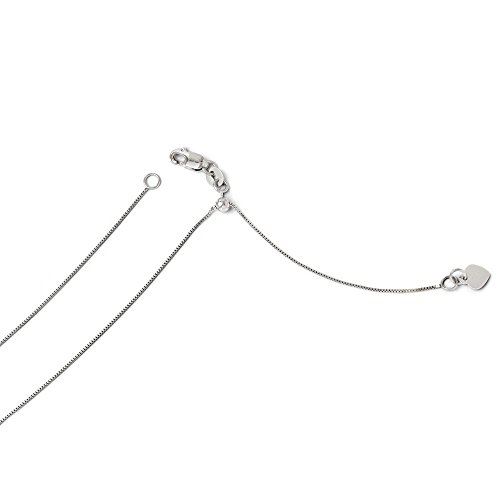 ICE CARATS 14k White Gold Adjustable .55mm Baby Link Box Chain Necklace 22 Inch Fine Jewelry Gift Set For Women Heart by ICE CARATS (Image #4)