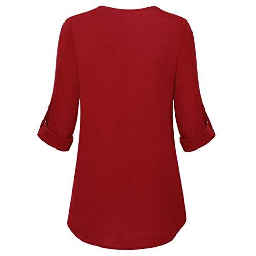 Longues Haut DContract La LULIKA T Rouge FMinine V LaChe Manches Cou Unie Mode Shirt Couleur Z8OqwTSR