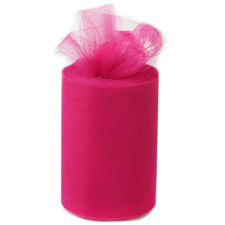 Fuchsia Pink Tulle Wedding Reception Decor – 6″ x 100 Yards, Valentine's Day, Easter, Fabric Netting Ribbon, Christmas, Wreath, Garland, Swag, Veil, Streamers, Gift Wrapping, Bows