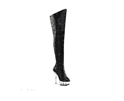 Top Totty Schwarz Frauen Männer große Größe Cubing Cosplay Schuhe mit hohen Absätzen starke Fersen weiß lange Dancer Stiefel
