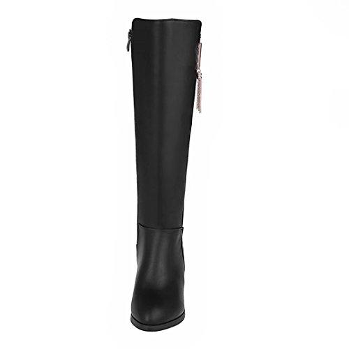 AIYOUMEI Damen Blockabsatz Kniehohe Stiefel mit 6cm Absatz und Reißverschluss Bequem Chunky Heel Stiefel Schwarz