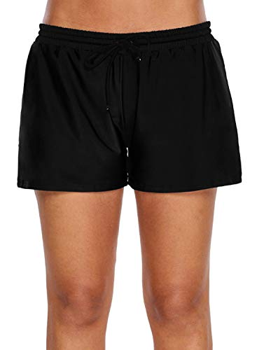 FIYOTE Women Summer Solid Color Elastic Drawstring Swim Shorts Bottoms XX-Large Size Black