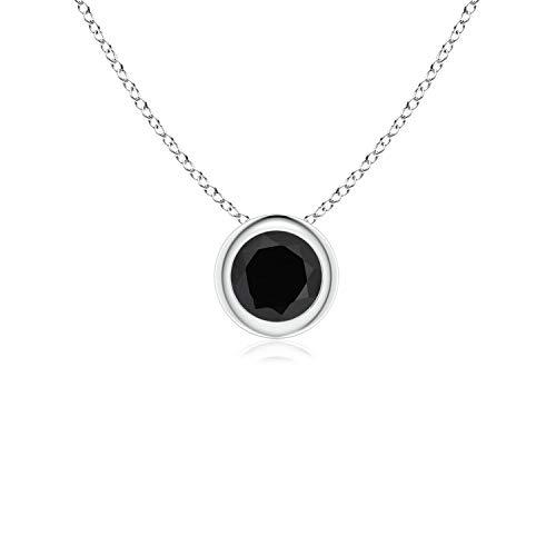 Bezel-Set Round Black Onyx Solitaire Pendant in Platinum (4mm Black - Platinum Onyx Necklace Black