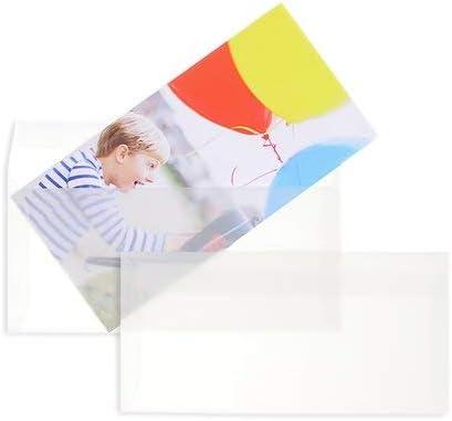 100 Stück, Transparente Briefumschläge, 110 x 220 mm (DIN Lang), Haftklebung mit Abziehstreifen, Gerade Klappe, 90 g/qm Offset, Ohne Fenster, Weiß (Transparent-Weiß), Blanke Briefhüllen