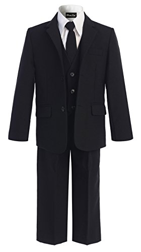 OLIVIA KOO Boys Solid 5-Piece Formal Suit Set With Matching Neck Tie,Black,10]()