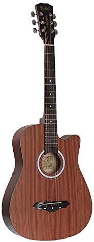軽やかで安定したギター 初心者フルサイズのアコースティックギタークラシックギター 持ち運びや収納に便利です (色 : 褐色, Size : 38 inches)